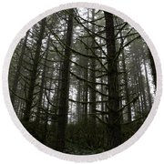 Forest Through The Trees Round Beach Towel