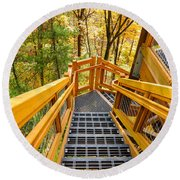 Forest Tower Steps Round Beach Towel