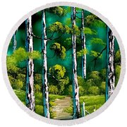 Forest Trail Round Beach Towel