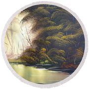 Forest Tranquility  Round Beach Towel