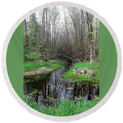 Forest Trees Creek Pathway Round Beach Towel