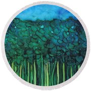 Forest Under The Full Moon - Abstract Round Beach Towel