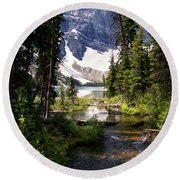 Forest View To Mountain Lake Round Beach Towel by Greg Hammond