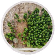 Forest With Green Trees From Above Round Beach Towel