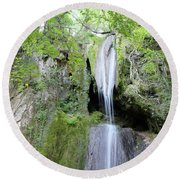 Forest With Waterfall Round Beach Towel