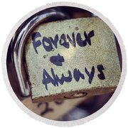 Forever And Always Paris Love Lock Round Beach Towel