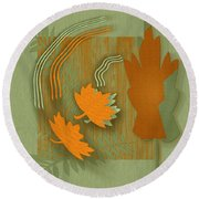 Forever Leaves Round Beach Towel