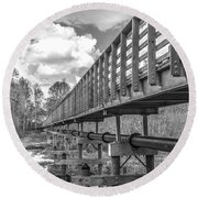 Forever Wild Trail Black And White Round Beach Towel