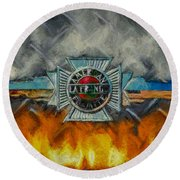 Forged In Fire - Vintage American Lafrance - Oil Round Beach Towel