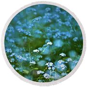 Forget-me-not Flower Patch Round Beach Towel