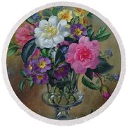 Forget Me Nots And Primulas In Glass Vase Round Beach Towel