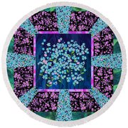 Forget Me Nots Fabric By Clothworks Round Beach Towel
