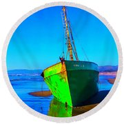 Forgotten Green Boat Round Beach Towel