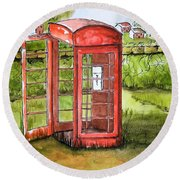 Forgotten Phone Booth Round Beach Towel