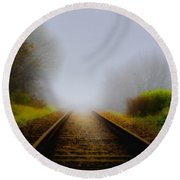 Forgotten Railway Track Round Beach Towel