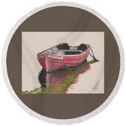 Forgotten Red Boat II Round Beach Towel