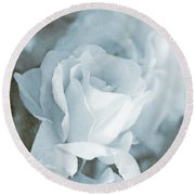 Forgotten Roses Blue Round Beach Towel