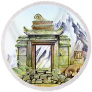 Forgotten Shrine Round Beach Towel