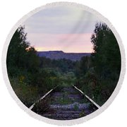Forgotten Train Track Round Beach Towel