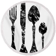 Fork Knife And Spoon Round Beach Towel
