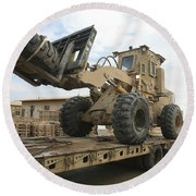 Forklift Is Unloaded Off Of A Logistics Round Beach Towel by Stocktrek Images