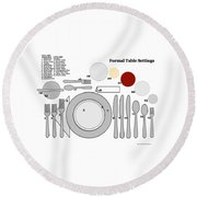 Formal Table Settings Round Beach Towel