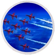 Formation Flying Britains Red Arrows Round Beach Towel