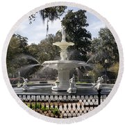 Forsyth Fountain Park Round Beach Towel