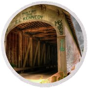 Forsythe Mill Bridge Round Beach Towel