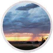 Fort Collins Colorado Sunset Lightning Storm Round Beach Towel