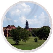 Fort Jefferson Parade Grounds And Harbor Light Round Beach Towel