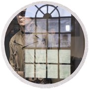 Fort Macon Through Glass Round Beach Towel