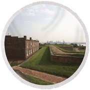 Fort Mchenry Earthworks And Barracks In Baltimore Maryland Round Beach Towel