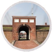 Fort Mchenry Gate In Baltimore Maryland Round Beach Towel