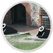 Fort Morgan Mortars Round Beach Towel