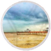 Fort Myers Pier Round Beach Towel