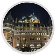 Fort  Of Quebec City At Night Round Beach Towel