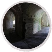 Fort Pickens Corridor 2 Round Beach Towel