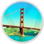 Fort Point Golden Gate Bridge Round Beach Towel