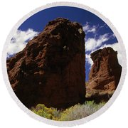 Fort Rock Twin Towers- H Round Beach Towel
