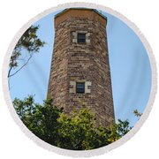 Fort Story Light House Round Beach Towel