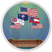 Fort Sumter, Charleston, Sc Round Beach Towel