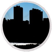 Fort Worth Silhouette Round Beach Towel