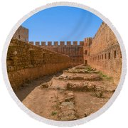 Fortress In Frangokastello Round Beach Towel