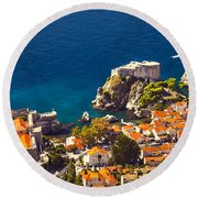 Fortress Of Dubrovnik From Above Round Beach Towel