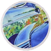 Forty Ford In Fall Round Beach Towel