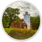 Forty Mile Point Lighthouse Lake Huron Lower Peninsilat Mi  Round Beach Towel