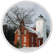Forty Mile Point Lighthouse Round Beach Towel