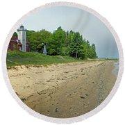 Forty Mile Point Lighthouse Springtime Round Beach Towel