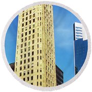Foshay Tower From The Street Round Beach Towel